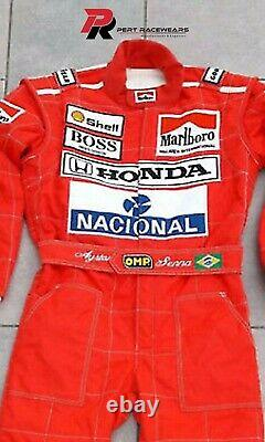 Ayrton Senna 1991 Replica Embroidered Patches Kart Race Suit, With All Sizes