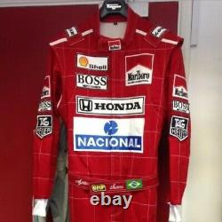 Ayrton Senna 1991 replica embroidered patches go kart race suit, In All Sizes