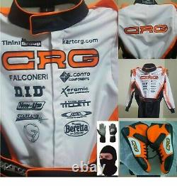 CRG Go Kart Race Embroidered Suit CIK FIA Level 2 & Shoes with free gift Gloves