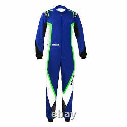 Go Kart Sparco Kerb Race Suit Male Blue / White / Fluro Green 130 Karting