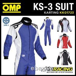 KK01723 OMP KS-3 KS3 KART RACE SUIT CIK-FIA LEVEL 2 APPROVED in 4 COLOURS