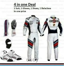 Martini Race Suit CIK FIA Level 2 Approved and Free Karting Shoes Karting Gloves