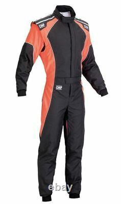 OMP KS-3 Suit Black Fluo Orange Size 60 Kart Racing Overall CIK 3 Layers STOCK