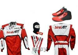 Birel Art Go Kart Race Suit Cik/fia Niveau 2 Approuvé Avec Des Chaussures Et Gants Assortis