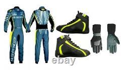 F1 K1 Kart Costume Imprimé Go Karting Racing Suit, Dans Toutes Les Tailles Chaussures, Gants Pack 3
