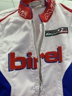 Kart Racing Birel 42 Costume Blanc/bleu/rouge Fabriqué En Italie Taille Internationale