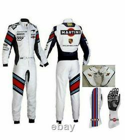 Martini Go Kart Race Suit Cik/fia Niveau 2 Approuvé Avec Des Chaussures Et Des Gants Assortis