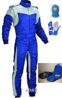Niveau 2 Kit De Costume De Course Cik/fia Kart Approuvé Bleu Avec Rayures Blanches