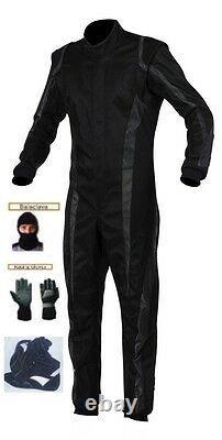 Niveau 2 Kit De Costume De Course Cik/fia Kart Approuvé Noir/gris