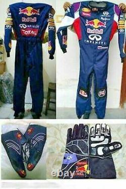Red Bull Go Kart Race Suit Cik/fia Niveau 2 Approuvé Avec Des Chaussures Et Des Gants Assortis